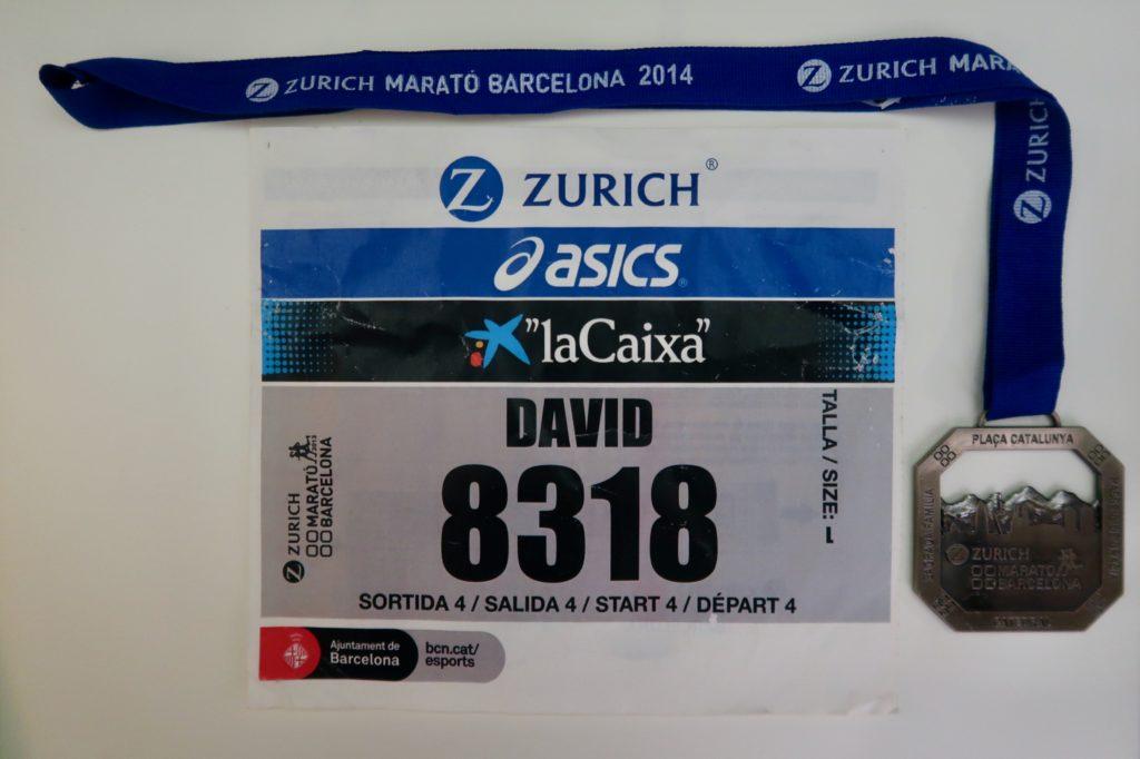 Marató Barcelona 2014 - Medalla y dorsal